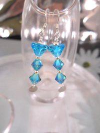 Swarovskikristall o Glas örhängen - Blå/Ranka