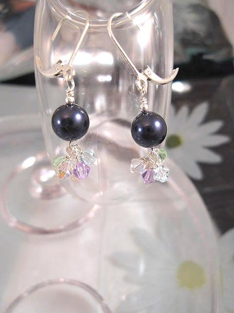 Swarovskipärlor o Swarovskikristaller örhängen - Multifärg/Klase/Marinblå