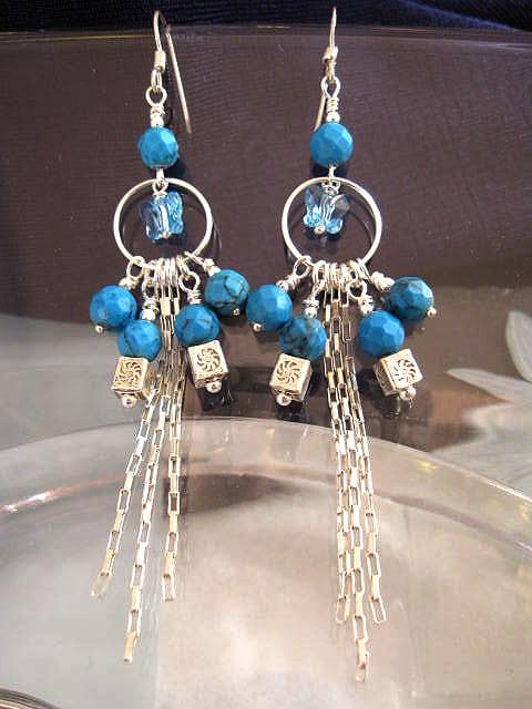 Långa Turkoser o Swarovskikristall örhängen - Blå/Fjärilar