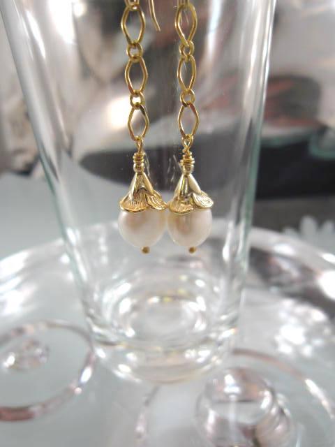 Guld, Vermeil örhängen med Sötvattenspärlor - 14K
