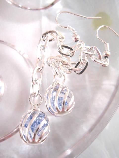 Bur med blå kristaller örhängen på kedja - Långa