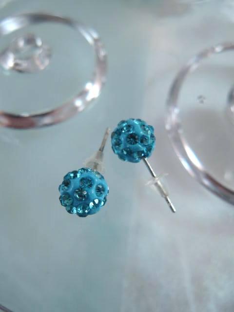 Bonus erbjudande 500 - Shamballa örhängen - Studs/Blå