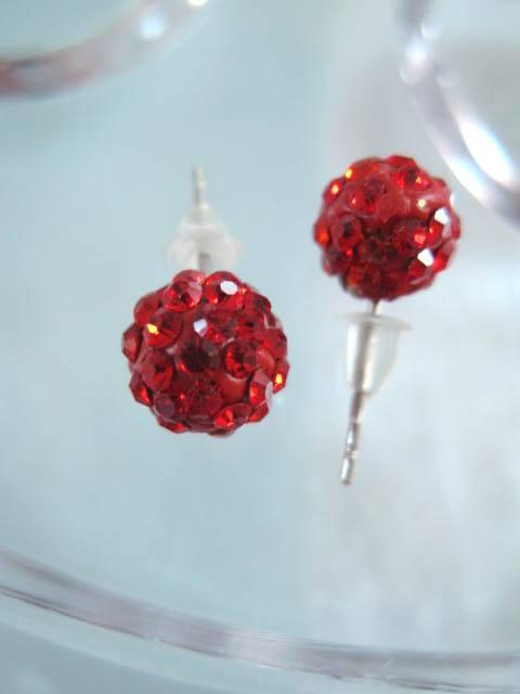 Bonus erbjudande 500 - Shamballa örhängen - Studs/Röd