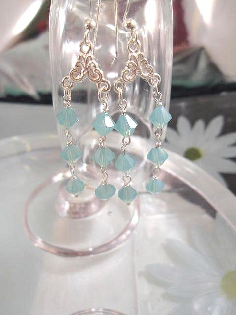 Långa Swarovskikristaller örhängen - Grön/Opal