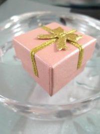 Presentask Berlock, Ring - Rosa, guld, rosett