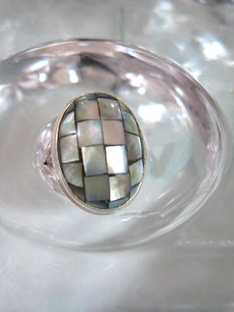 Abalone, Paua snäcka ring - Oval/Mosaik
