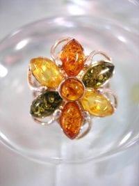Baltisk Bärnsten ring - Blomma/Multifärg
