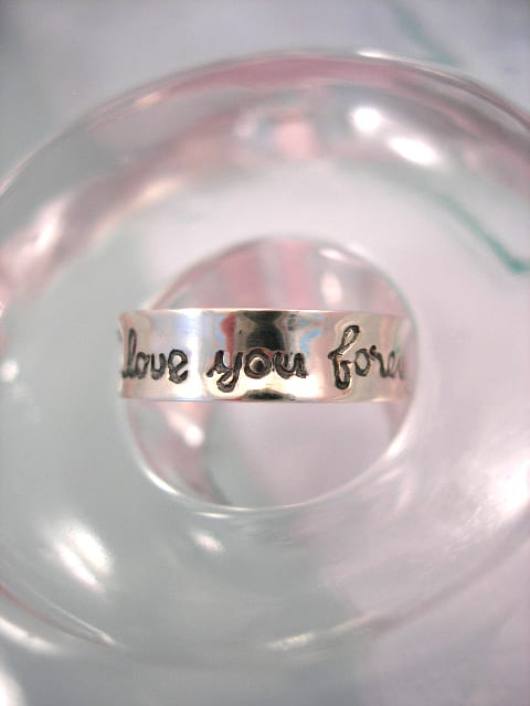Silverring med budskap - I Love you forever/Unisex