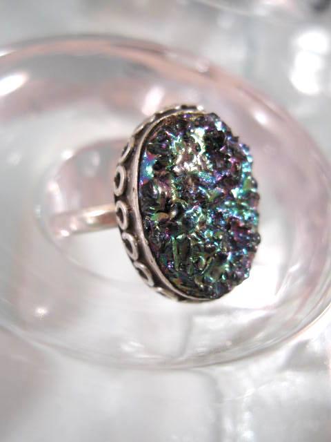 Titanium Drusy ring - Oval 2