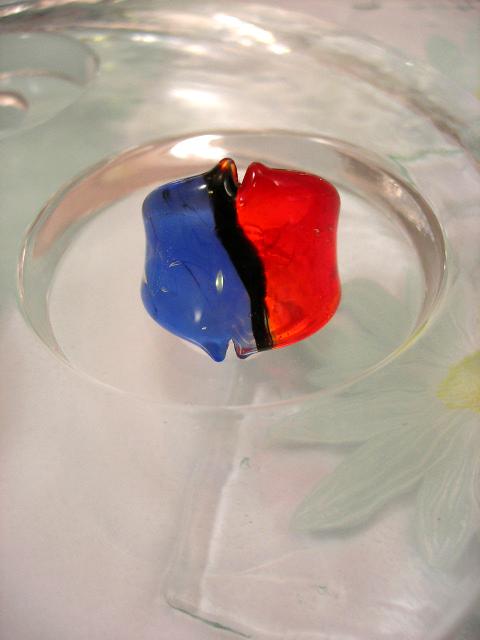 Glasring 15.75 - Koboltblå/Röd