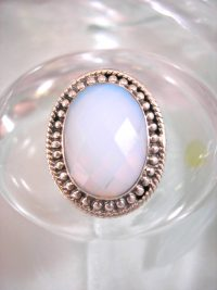 Opalit ring - Fasett/Oval/Ljusblå/XL