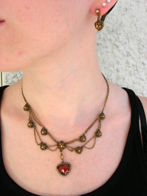 Smyckeset Halsband o Örhängen - Kristall/Hjärta/Brun