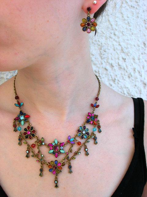 Smyckeset Halsband o Örhängen - Antik/Kristall/Multifärg