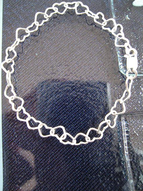 Silverkedja 6 mm - Hjärtan, berlockarmband, vristlänk 20 cm lång