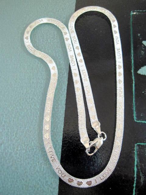 Silverkedja 4 mm - Fiskben, 46 cm lång - Budskap/I Love You
