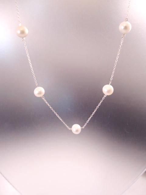 5 Sötvattenspärlor på kedja halsband - Vit