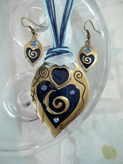 Smyckeset Halsband o Örhängen - Emaljerad/Kristaller/Blå/Brons