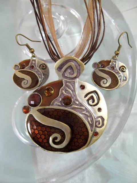 Smyckeset Halsband o Örhängen - Emaljerad/Brun/Brons/Ovaler2