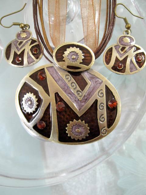 Smyckeset Halsband o Örhängen - Emaljerad/Brun/Brons/Ovaler1
