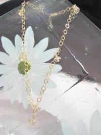 Vristlänk, Fotlänk med Swarovskikristaller - Guld 14K GF