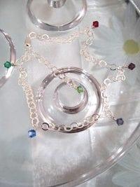 Vristlänk, Fotlänk, Ankelkedja med kristaller - Multifärg